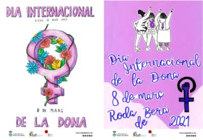 Dues alumnes de l'Institut guanyen el I Concurs de cartells del Dia Internacional de la Dona de Roda de Berà