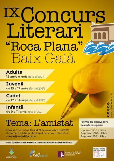 Roda de Berà  posa en marxa el 9è Concurs literari 'Roca Plana'